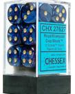 Chessex - CHX 12-die 16mm d6 Set Royal Blue w/gold Scarab