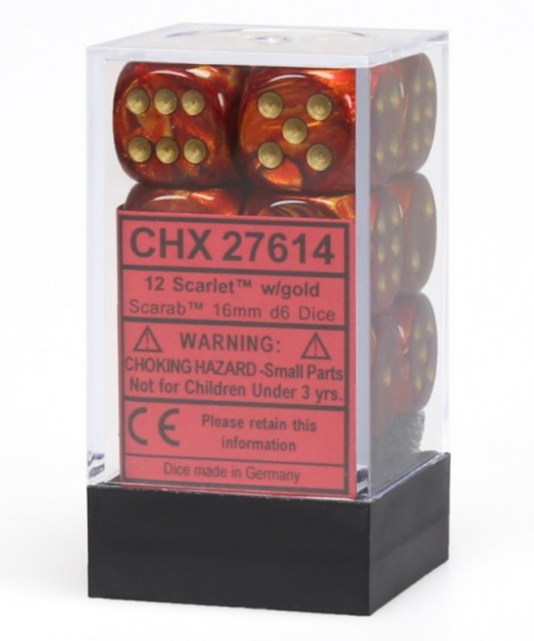 Chessex - CHX 12-die 16mm d6 Set Scarlet w/gold Scarab