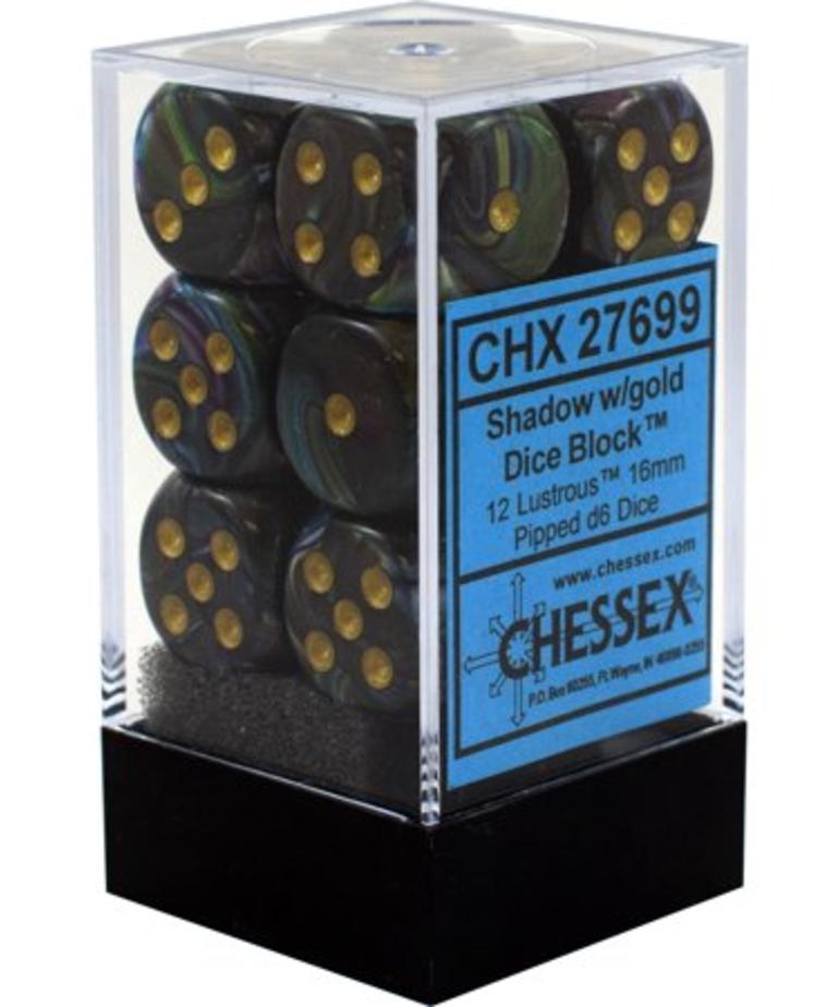 Chessex - CHX 12-die 16mm d6 Set Shadow w/gold Lustrous