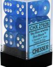 Chessex - CHX 12-die 16mm d6 Set Sky Blue w/white Borealis