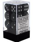 Chessex - CHX 12-die 16mm d6 Set Smoke w/silver Borealis