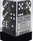 Chessex - CHX 12-die 16mm d6 Set Smoke w/white Translucent