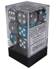 Chessex - CHX 12-die 16mm d6 Set Steel-Teal w/White Gemini