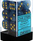 Chessex - CHX 12-die 16mm d6 Set Teal w/gold Phantom