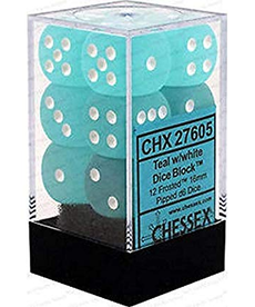 Chessex - CHX 12-die 16mm d6 Set Teal w/white Frosted