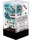 Chessex - CHX 12-die 16mm d6 Set Teal-White w/Black Gemini
