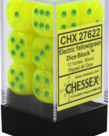 Chessex - CHX CLEARANCE - 12-die 16mm d6 Set Vortex Electric Yellow w/ Green