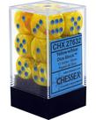 Chessex - CHX 12-die 16mm d6 Set Yellow w/blue Vortex