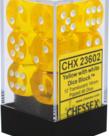 Chessex - CHX 12-die 16mm d6 Set Yellow w/white Translucent