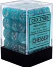 Chessex - CHX 36-die 12mm d6 Set Aqua w/ silver Cirrus