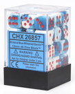 Chessex - CHX 36-die 12mm d6 Set Astral Blue - White w/ Red