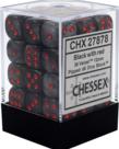Chessex - CHX 36-die 12mm d6 Set Black w/ red Velvet