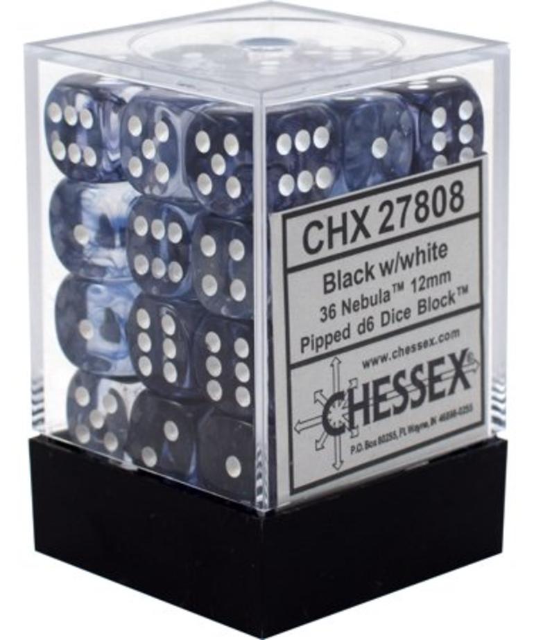 Chessex - CHX 36-die 12mm d6 Set Black w/ white Nebula