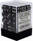 Chessex - CHX 36-die 12mm d6 Set Black w/white Opaque