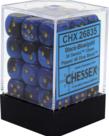 Chessex - CHX 36-die 12mm d6 Set Black-Blue w/gold Gemini