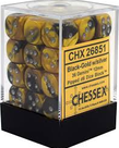 Chessex - CHX 36-die 12mm d6 Set Black-Gold w/Silver Gemini