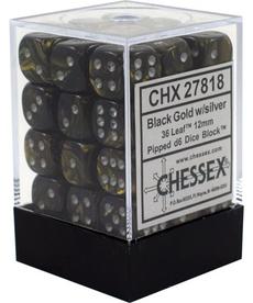 Chessex - CHX 36-die 12mm d6 Set Black-Gold w/silver Leaf