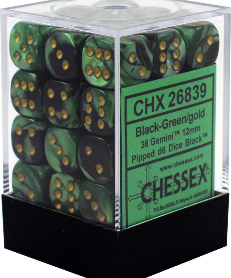 Chessex - CHX 36-die 12mm d6 Set Black-Green w/gold Gemini