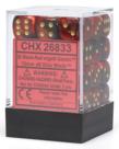 Chessex - CHX 36-die 12mm d6 Set Black-Red w/gold Gemini