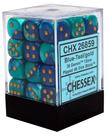 Chessex - CHX 36-die 12mm d6 Set Blue - Teal w/ Gold Gemini