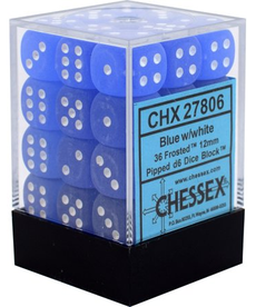 Chessex - CHX 36-die 12mm d6 Set Blue w/ white Frosted