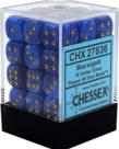 Chessex - CHX 36-die 12mm d6 Set Blue w/gold Vortex