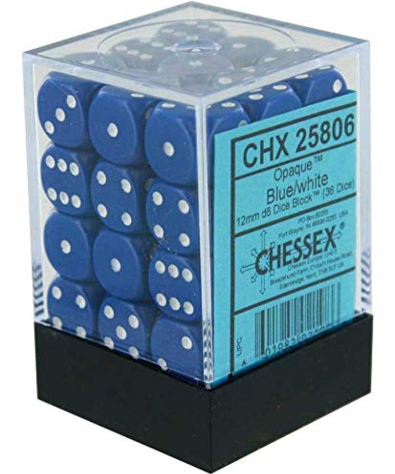 Chessex - CHX 36-die 12mm d6 Set Blue w/white Opaque
