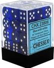 Chessex - CHX 36-die 12mm d6 Set Blue w/white Translucent