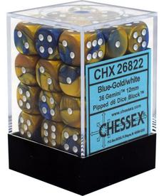 Chessex - CHX 36-die 12mm d6 Set Blue-Gold w/white Gemini