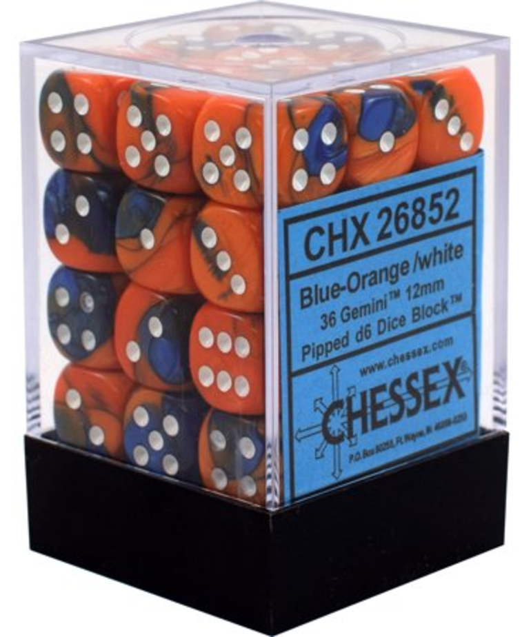 Chessex - CHX 36-die 12mm d6 Set Blue-Orange w/White Gemini