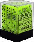 Chessex - CHX 36-die 12mm d6 Set Bright Green w/black Vortex