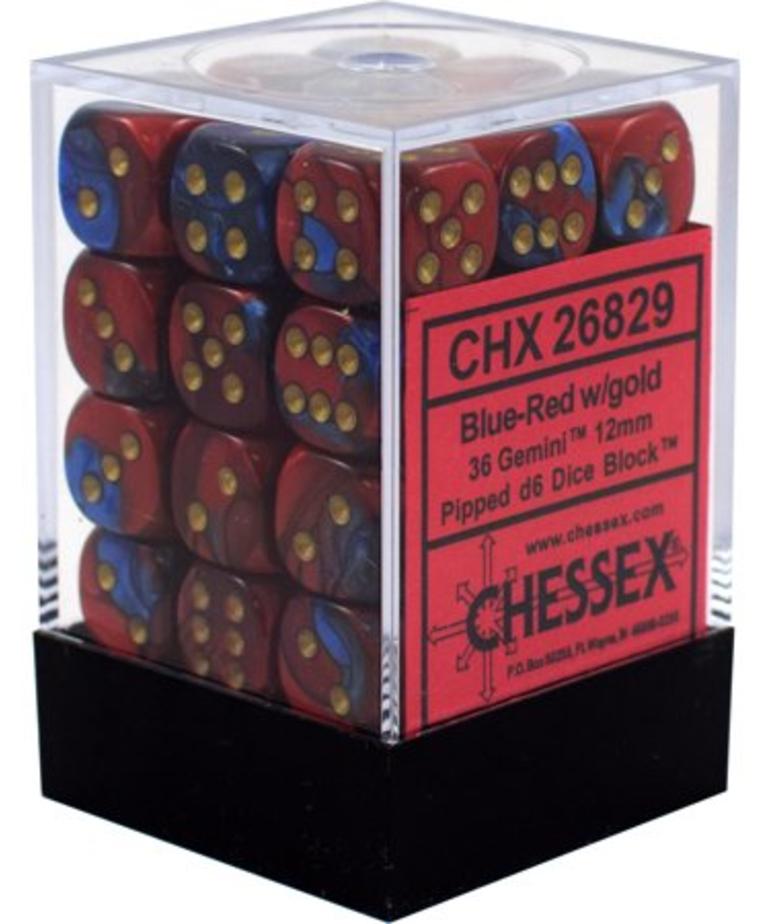 Chessex - CHX 36-die 12mm d6 Set Burgundy w/gold Gemini