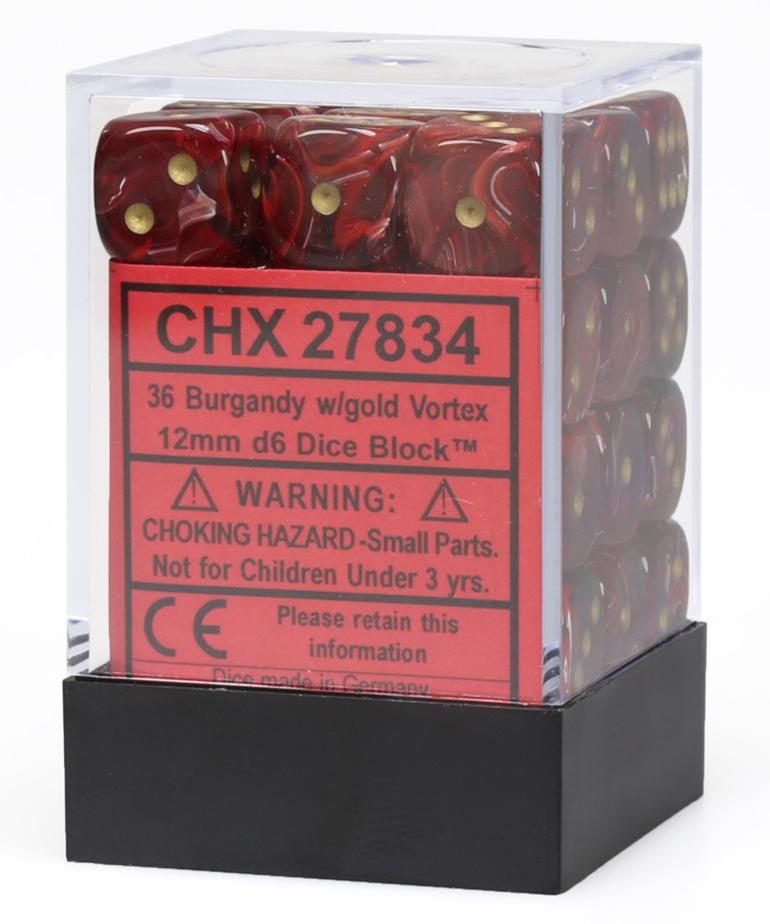 Chessex - CHX 36-die 12mm d6 Set Burgundy w/gold Vortex