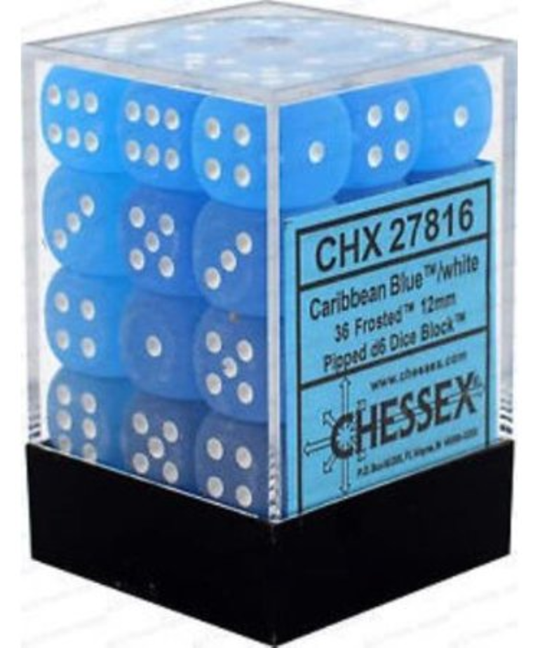 Chessex - CHX 36-die 12mm d6 Set Caribbean Blue w/ white Frosted