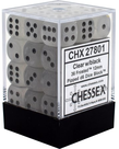 Chessex - CHX 36-die 12mm d6 Set Clear w/ black Frosted