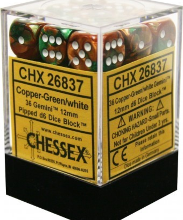 Chessex - CHX 36-die 12mm d6 Set Copper-Green w/white Gemini