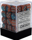 Chessex - CHX 36-die 12mm d6 Set Copper-Teal w/Silver Gemini