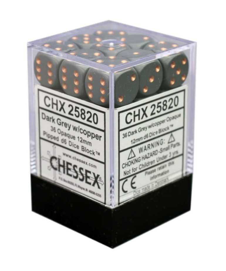 Chessex - CHX 36-die 12mm d6 Set Dark Grey w/copper Opaque