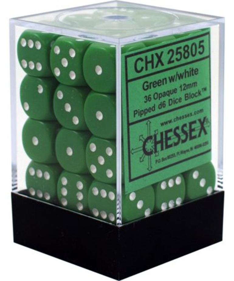 Chessex - CHX 36-die 12mm d6 Set Green w/white Opaque