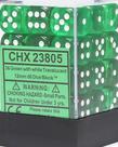 Chessex - CHX 36-die 12mm d6 Set Green w/white Translucent