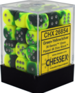 Chessex - CHX 36-die 12mm d6 Set Green-Yellow w/Silver Gemini