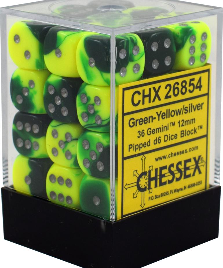 Chessex - CHX 36-die 12mm d6 Set Green-Yellow w/Silver Gemini
