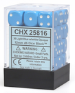 Chessex - CHX 36-die 12mm d6 Set Light Blue w/white Opaque