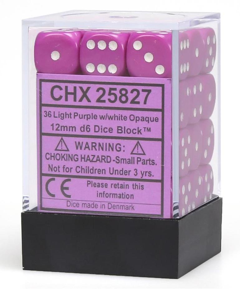 Chessex - CHX 36-die 12mm d6 Set Light Purple w/white Opaque