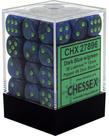 Chessex - CHX 36-die 12mm d6 Set Lustrous Dark Blue w/ Green