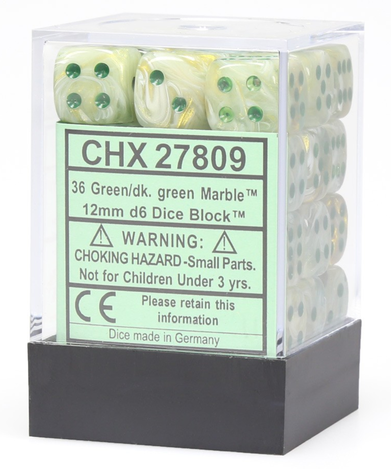 Chessex - CHX 36-die 12mm d6 Set Marble Green w/ Dark Green