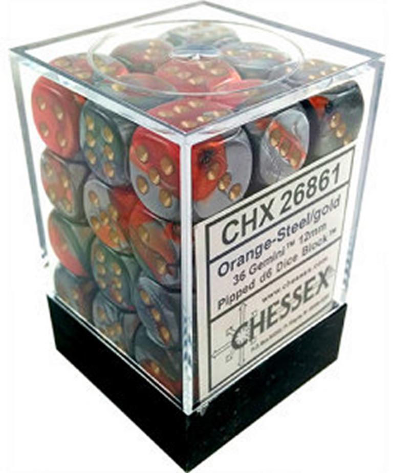 Chessex - CHX CLEARANCE - 36-die 12mm d6 Set Orange - Steel w/ Gold Gemini