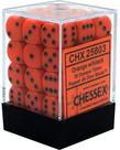 Chessex - CHX 36-die 12mm d6 Set Orange w/black Opaque