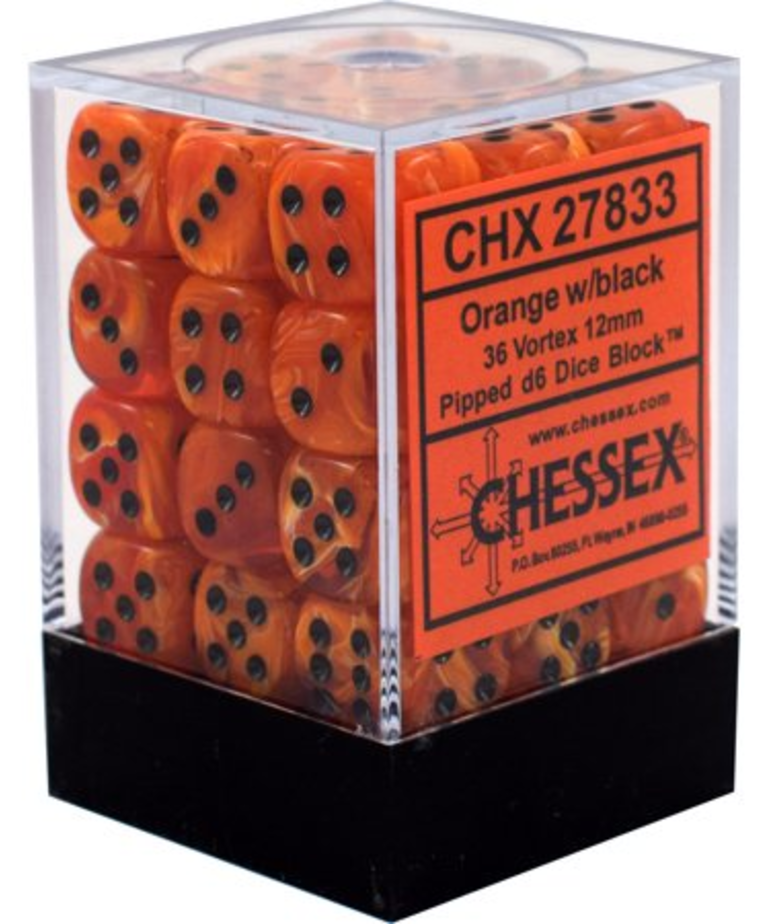 Chessex - CHX 36-die 12mm d6 Set Orange w/black Vortex