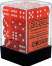 Chessex - CHX 36-die 12mm d6 Set Orange w/white Translucent